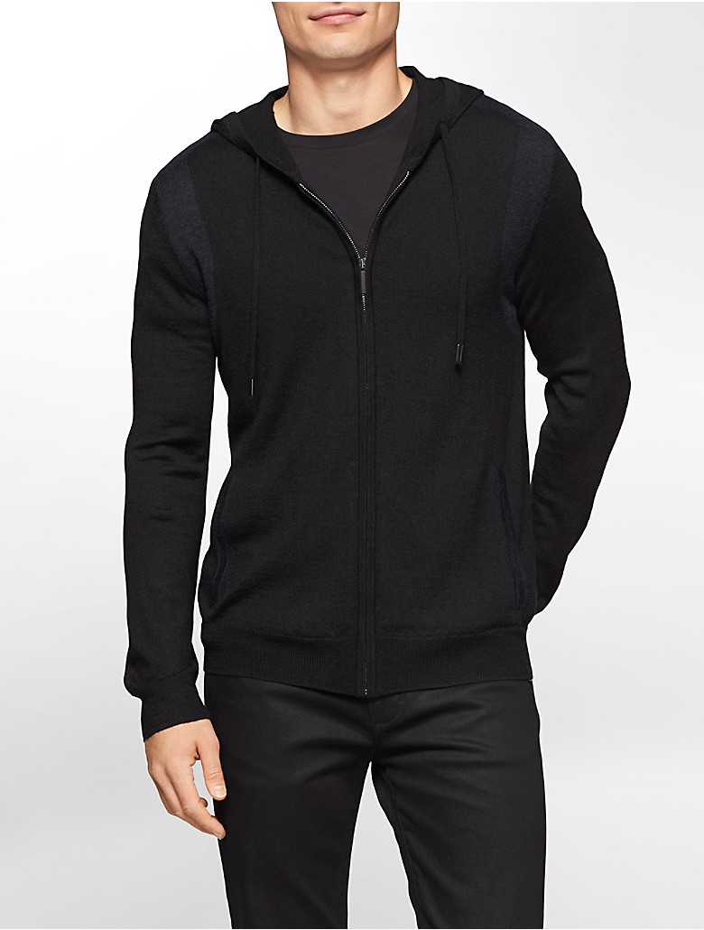 calvin klein mens colorblock merino wool blend zip front hoodie ebay. Black Bedroom Furniture Sets. Home Design Ideas