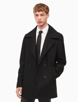 Black pea coat man