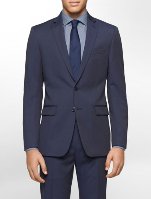 body slim fit navy pinstripe suit jacket | Calvin Klein