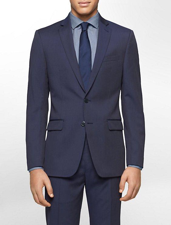 body slim fit navy pinstripe suit jacket   Calvin Klein