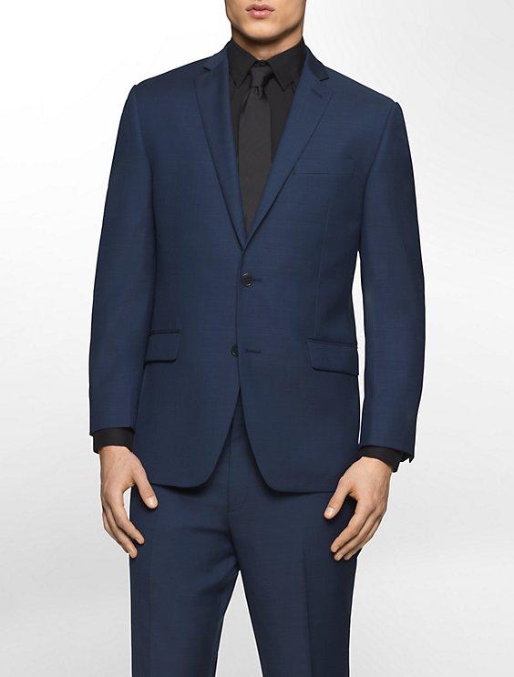 classic fit navy plaid suit jacket   Calvin Klein