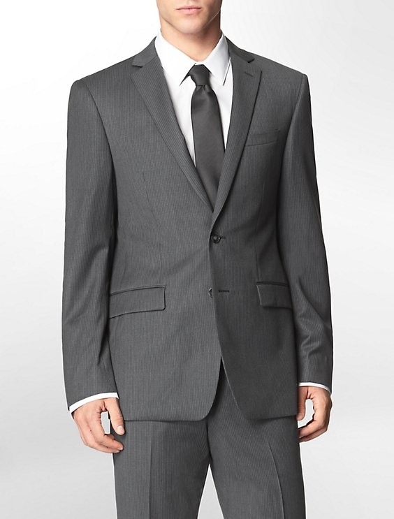 body slim fit grey   blue pinstripe suit jacket | Calvin Klein