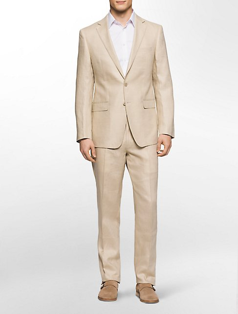 x fit ultra slim fit khaki linen suit | Calvin Klein
