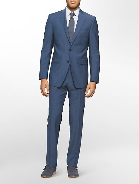 x fit ultra slim fit blue wool suit | Calvin Klein