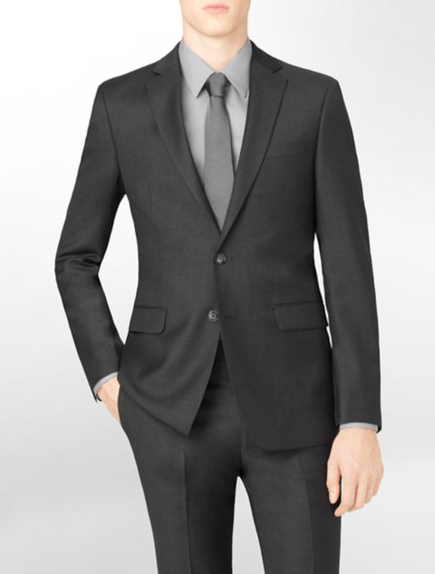 body slim fit charcoal wool suit jacket | Calvin Klein