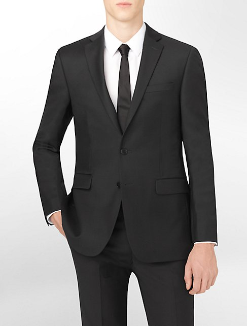 body slim fit black wool suit jacket | Calvin Klein