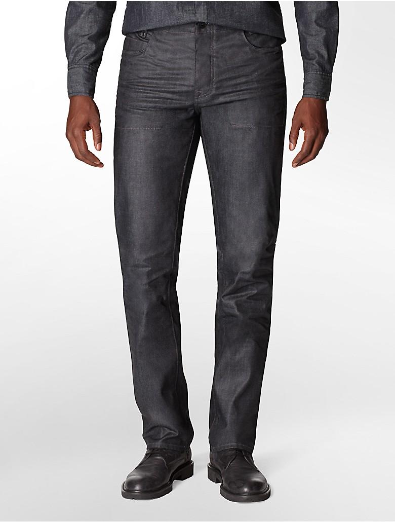 calvin klein mens slim straight leg dark wash jeans ebay. Black Bedroom Furniture Sets. Home Design Ideas