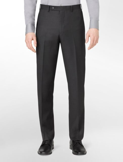 body slim fit charcoal wool suit pants | Calvin Klein