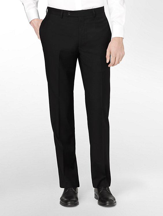 body slim fit black wool suit pants | Calvin Klein