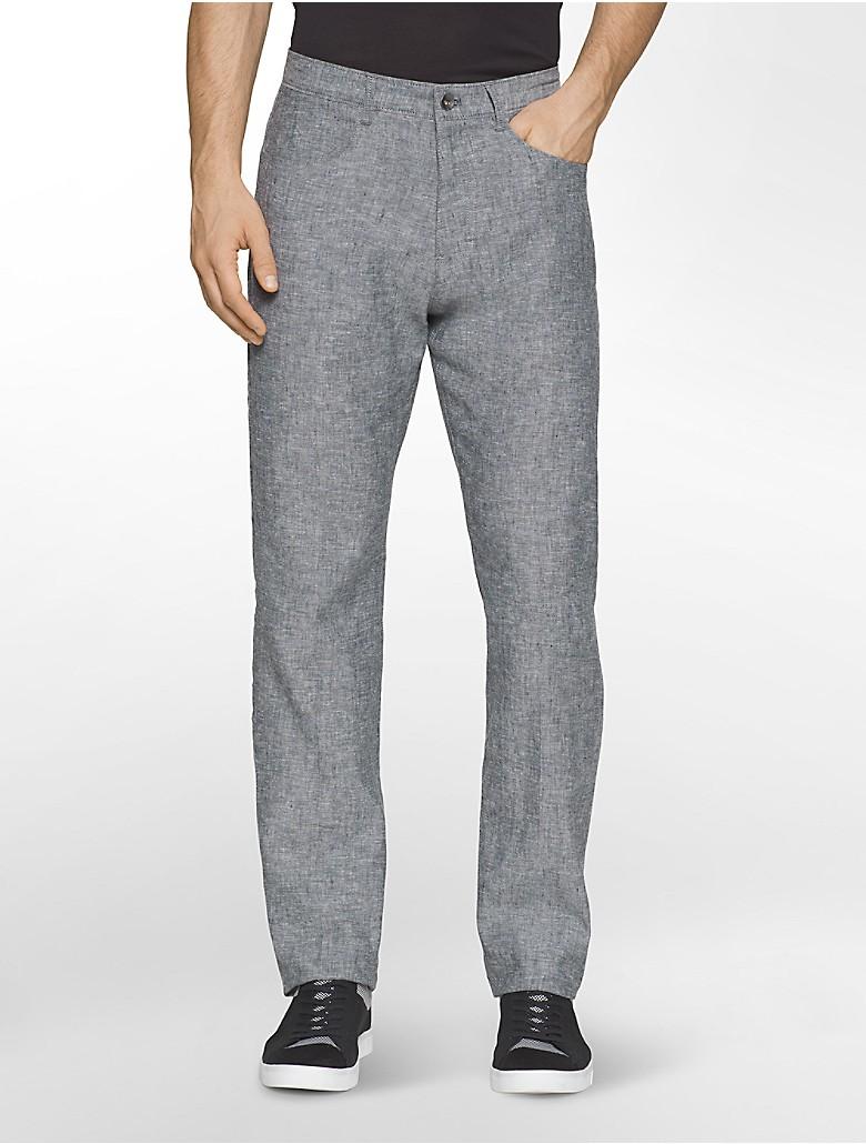 calvin klein mens straight fit chambray linen pants | eBay