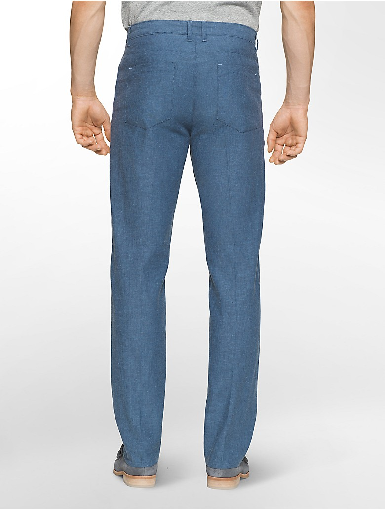 calvin klein mens straight fit chambray linen pants | eBay