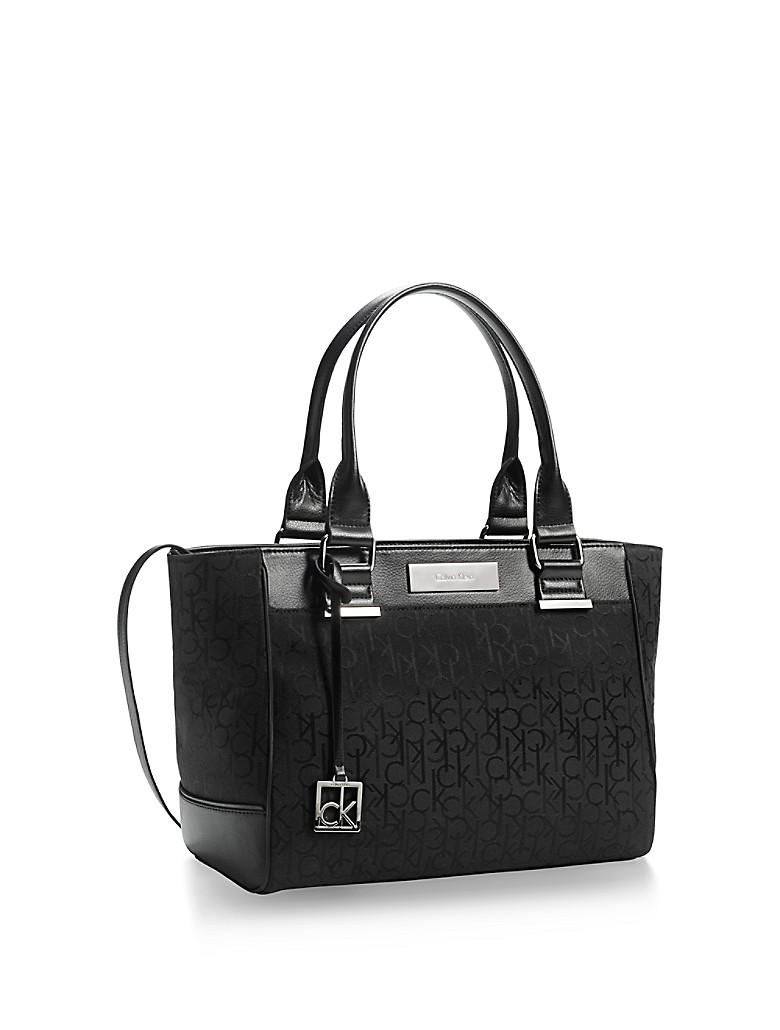calvin klein womens logo jacquard city shopper tote ebay. Black Bedroom Furniture Sets. Home Design Ideas