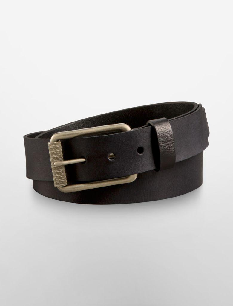 calvin klein mens textured roller buckle leather belt ebay