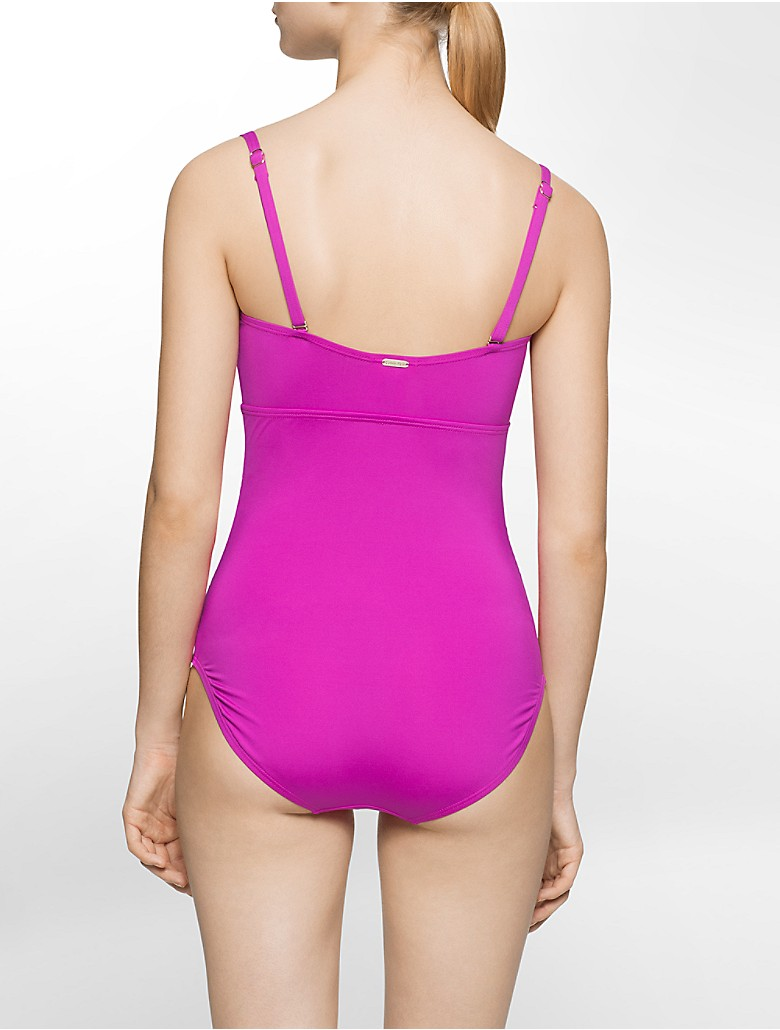 calvin klein womens ruched side one piece swimsuit. Black Bedroom Furniture Sets. Home Design Ideas