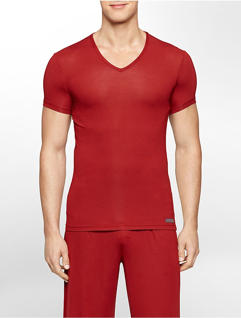 Calvin klein mens body modal v neck t shirt underwear ebay for Modal t shirts mens