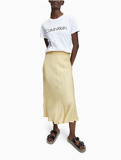Image of Bias Cut Midi Skirt