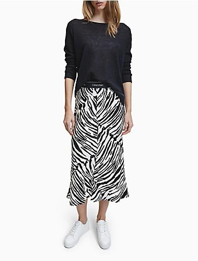 Image of Logo Band Printed Midi Skirt