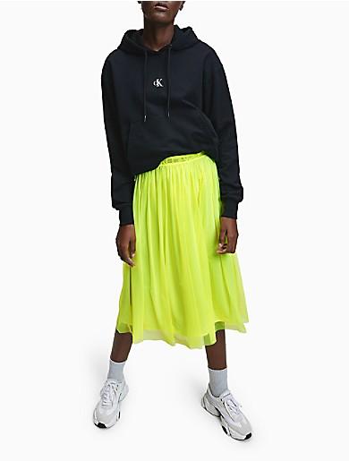 Image of Logo Band Mesh Midi Skirt