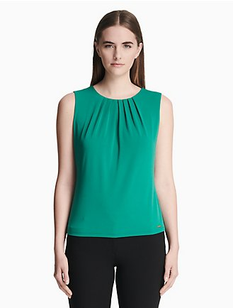 149defe3a354c solid pleat neck sleeveless top