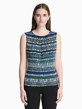 2c71737d569f0 printed pleat neck cami sleeveless top