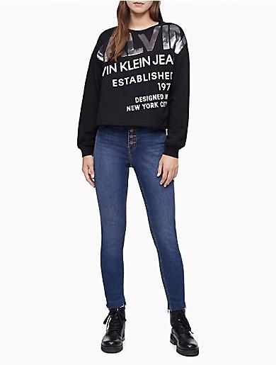 Image of Oversized Sequin Logo Cropped Sweatshirt