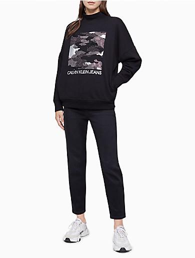 Image of Camo Stud Mock Neck Sweatshirt