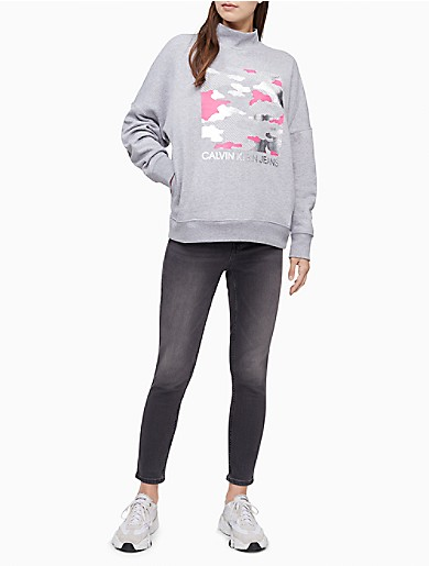 Image of Camo Foil Mock Neck Sweatshirt