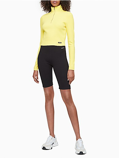 Image of Solid Ribbed 1/4 Zip Cropped Sweater