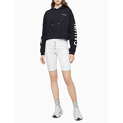 institutional logo cropped hoodie