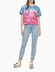 Monogram Logo Tie-Dye Boyfriend T-Shirt   Calvin Klein