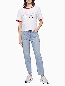 Americana Monogram Logo Ringer Crewneck T-Shirt   Calvin Klein
