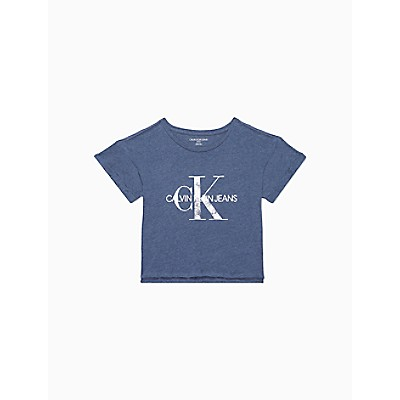 Distressed Monogram Logo Cropped T-Shirt