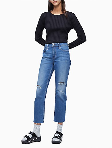Image of Ribbed Crewneck Cropped Sweater