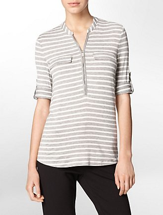 c91a4c4dd24c1 striped partial zip front roll-up sleeve top