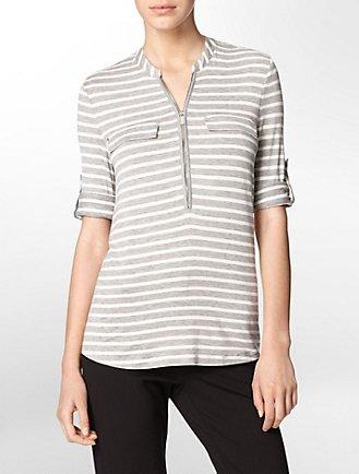 0d7fcbf1d7d67 striped partial zip front roll-up sleeve top