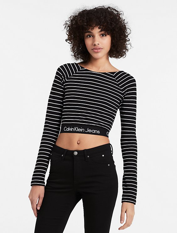 eba14499 stripe long sleeve crop top | Calvin Klein