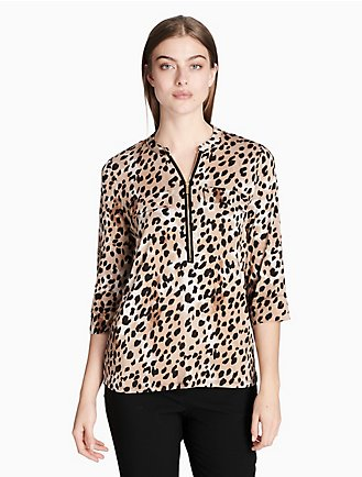 72fb1b3e1cd animal print mandarin collar roll-up sleeve top