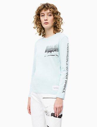 4ef424e75fb6e3 warhol landscape crewneck long sleeve shirt
