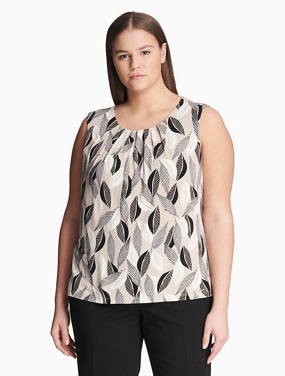 d5c3bc56204 plus size leaf print pleat neck top