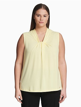 4f199c04eda4be plus size solid knot neck top
