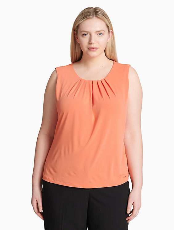 0268e6a70dd plus size solid pleat neck sleeveless top