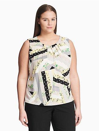 81e9124089316c plus size patchwork pleat neck top