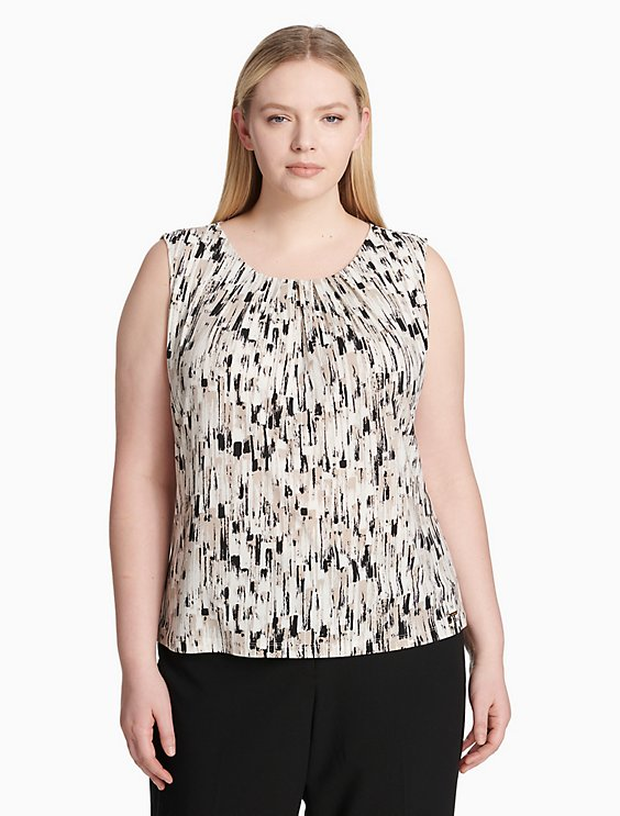 a34a87e8a60 Final Sale plus size printed pleat neck sleeveless top