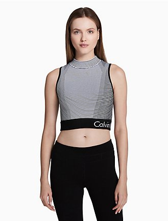 ae0779e9d2c performance mock neck striped cropped top