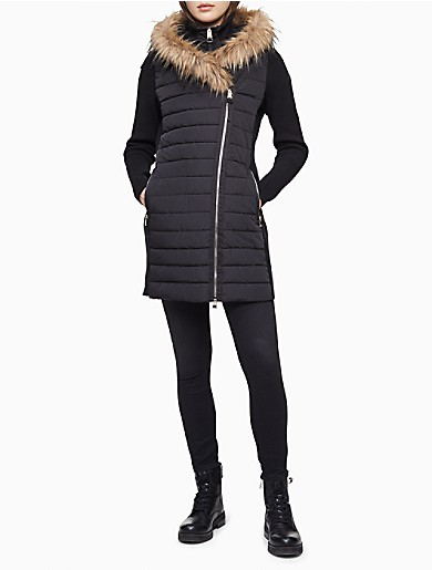 Image of Performance Faux Fur Quilted Walker Jacket