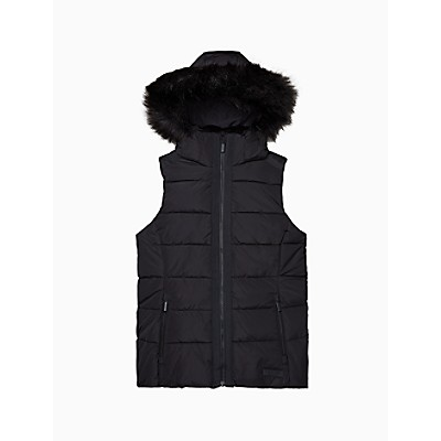 Performance Faux Fur Hooded Quilted Vest