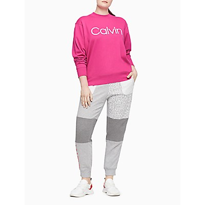 Plus Size Performance Calvin Logo Long Sleeve Mock Neck Pullover