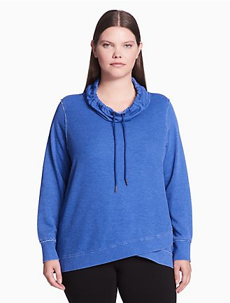 8e97ce28c7ce plus size performance crossover hem thermal pullover