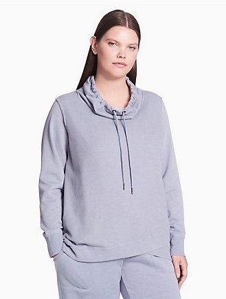 7cec7839fd8c2 plus size performance crossover hem thermal pullover