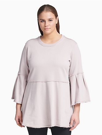 f4901258c08d64 plus size performance bell sleeve crewneck tunic